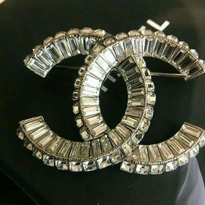 CHANEL Silver Crystal CC Brooch